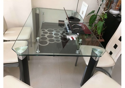 Compact Dining Table with Shelf Storage Under Glass Top