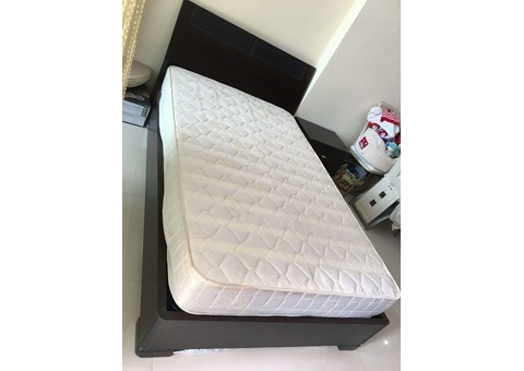 Queen Bed with Storage Space and Side Table