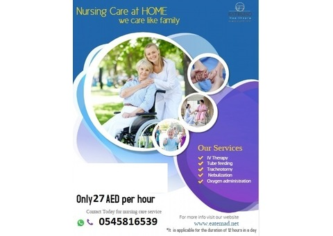 HOME NURSING for just AED 27 per Hour !!