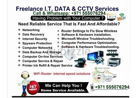 PC, Laptop,WiFi Internet, Windows, Networking, Troubleshoot, CCTV, Access control Installation