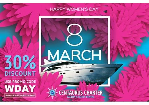Womens Day Offers on Luxury Yacht Rental in Dubai