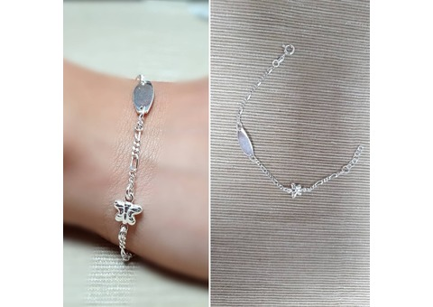 ITALIAN DELIGHT – 925 Sterling Silver Butterfly & Tag Bracelet, Made in Italy.