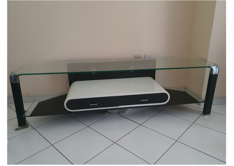 1. TV Stand (Glass), 2. Dining Table+Chairs+Comp. Table+Revolving Chair