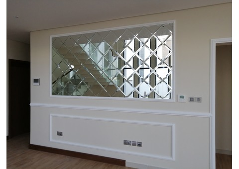 MIRROR WITH BEVELED EDGES, STAINLESS STEEL CLADED FRAMES