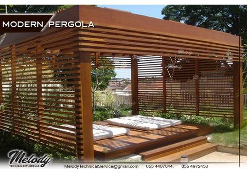 Wooden Modern Pergola Suppliers Abu Dhabi | Modern Pergola Dubai | Modern Pergola in Arabian Ranches