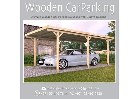 Wooden Carport | Car Parking Shade Suppliers in UAE | Carport in Dubai | Carport shade with Curtains