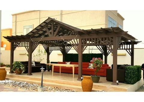 Swimming Pool Pergola | BBQ Pergola Abu Dhabi | Black Queen Pergola Dubai Backyard Pergola Suppliers