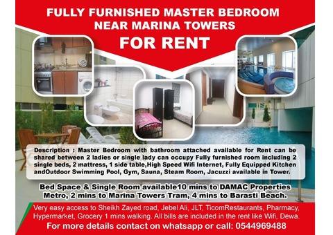 Master Bedroom and Single Bed in Marina near to Marina Towers Metro Tram