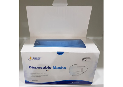 50Pcs Disposable Face mask with 3 Layer Filter, 3 ply Filter