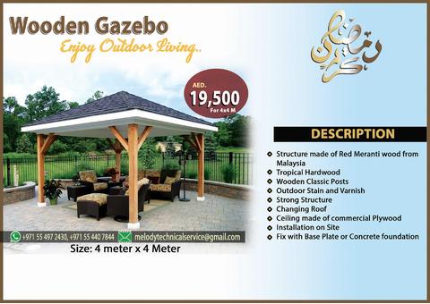 Wooden Gazebo Installation UAE | Gazebo Suppliers in Dubai | Gazebo Creative Design