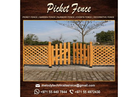 White Picket Fence with Gate   Outdoor Fencing Dubai   Wooden Fence Installation UAE