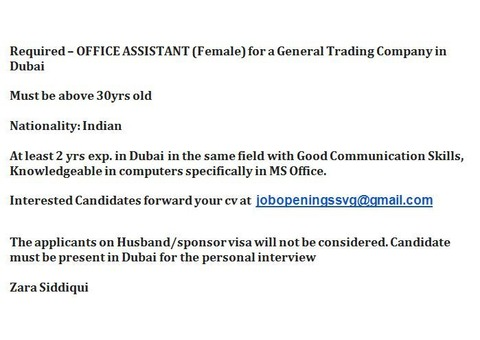 Required – OFFICE ASSISTANT (Female) for a General Trading Company in Dubai